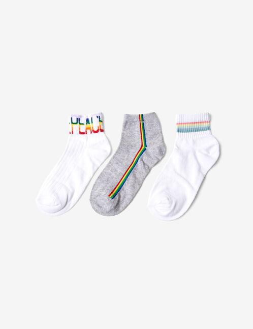 chaussettes arc-en-ciel blanches et grises