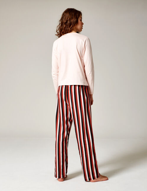 Long light pink, burgundy and black pyjama set