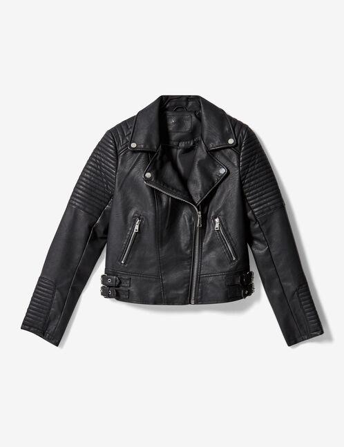 Black padded biker jacket