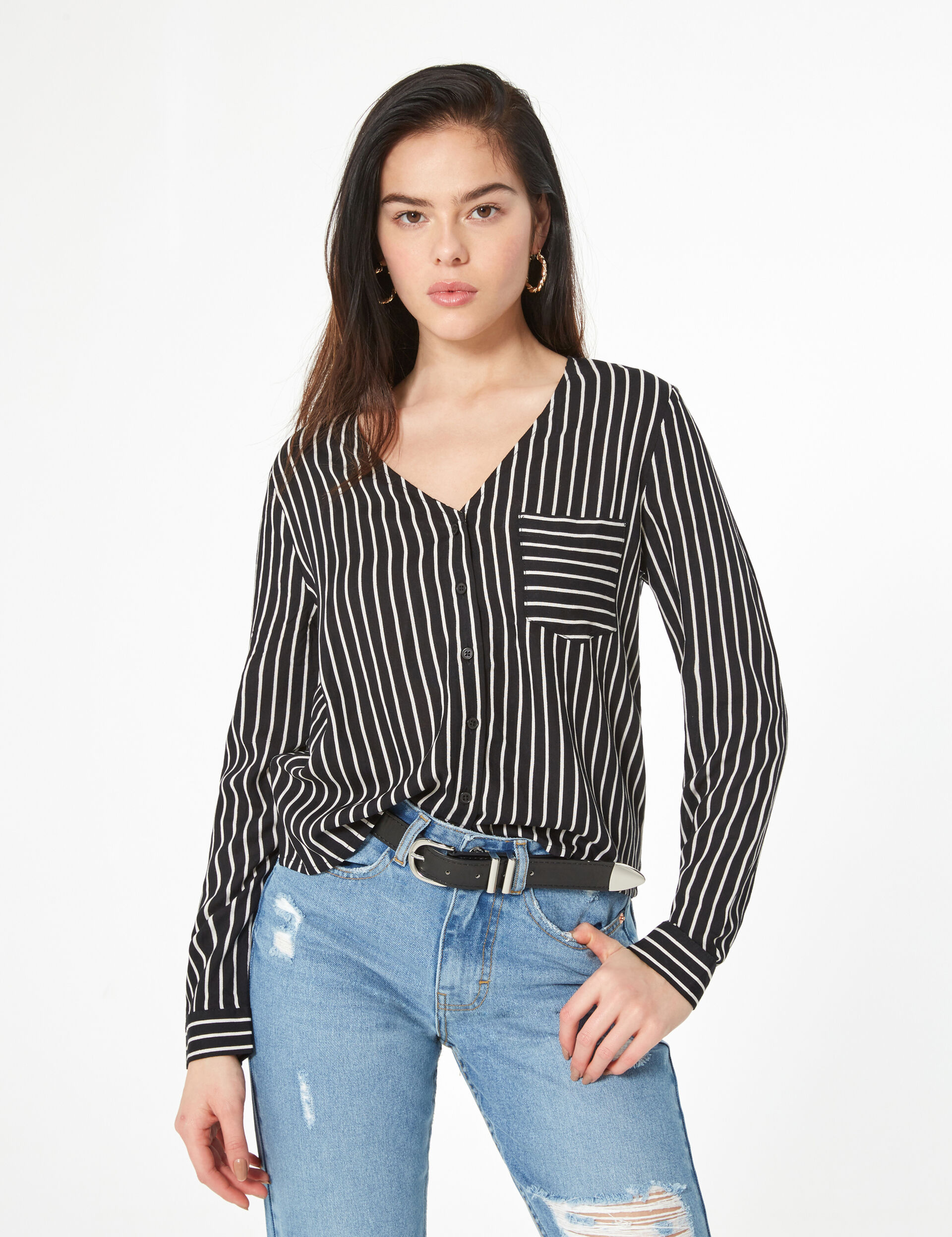 Striped v-neck shirt