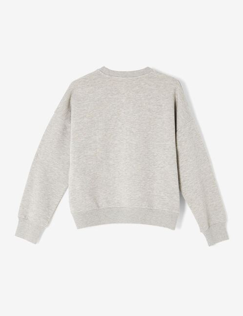 Grey marl sweatshirt with rhinestone detail