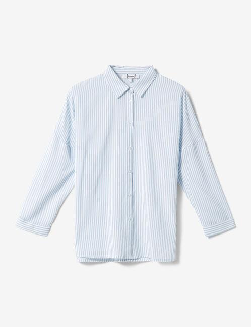 chemise rayée blanche et bleu clair