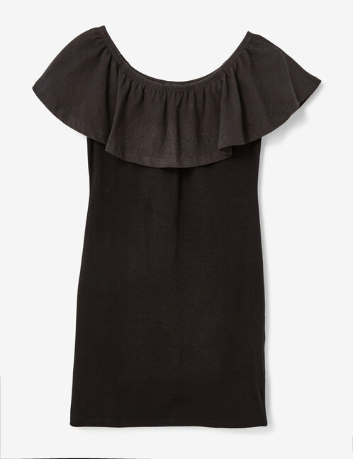 Black dress with frill detail