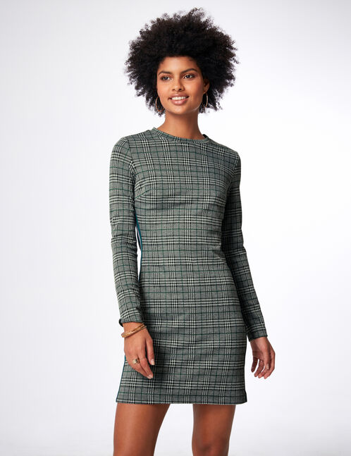 Black, cream and green dress with side trim detail