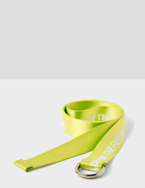 """Neon yellow """"made for the future"""" belt"""