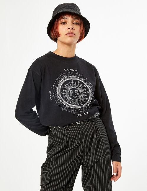 Sun print t-shirt with rhinestone detail