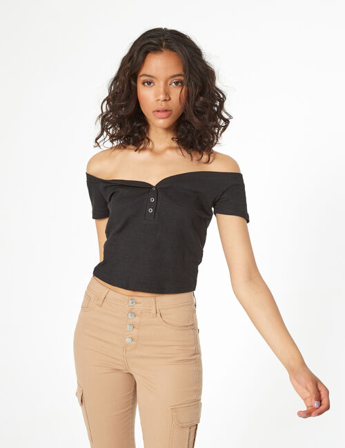 Bardot collar top with buttons