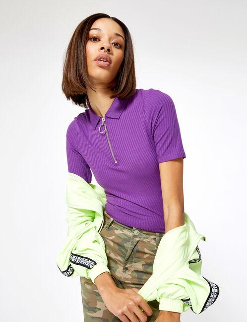 tee-shirt polo zippé violet