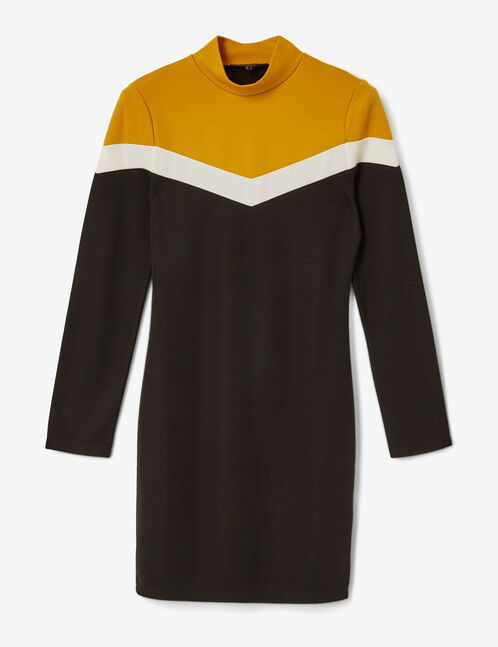 Black, cream and ochre dress with chevron detail