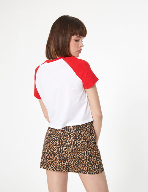 """Red and white """"chieuse"""" print T-shirt"""