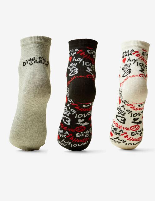 chaussettes fantaisies blanches rouges et noires