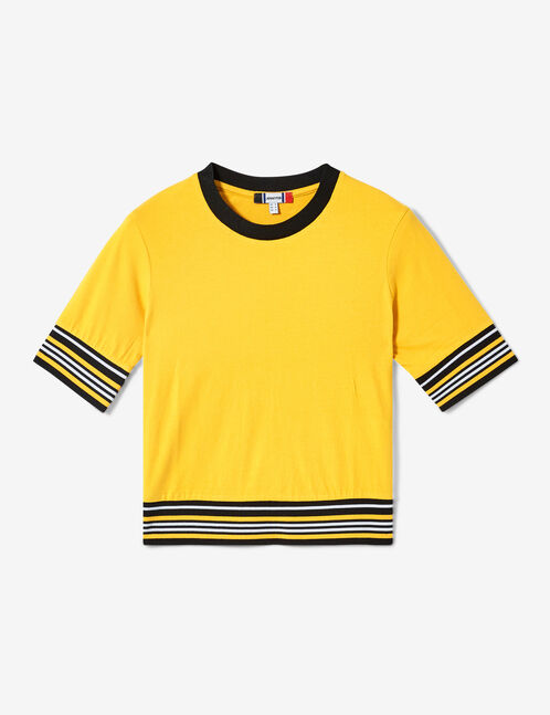 Ochre, white and black T-shirt with striped trim detail