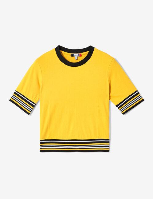 tee-shirt finitions rayées ocre, blanc et noir