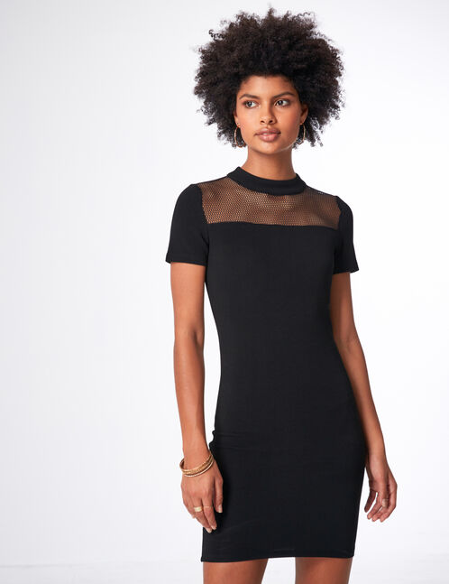 Black dress with mesh detail