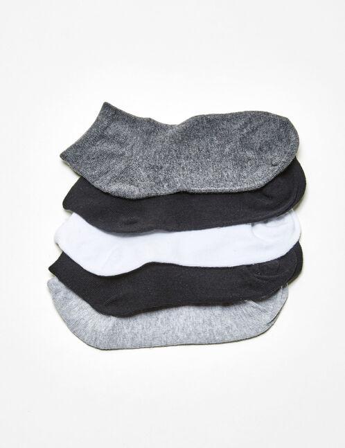 White, grey and black basic socks