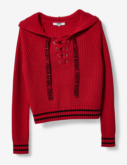 pull à capuche avec laçage rouge