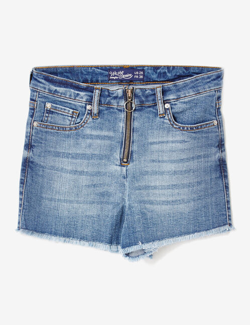 Medium blue zipped denim shorts