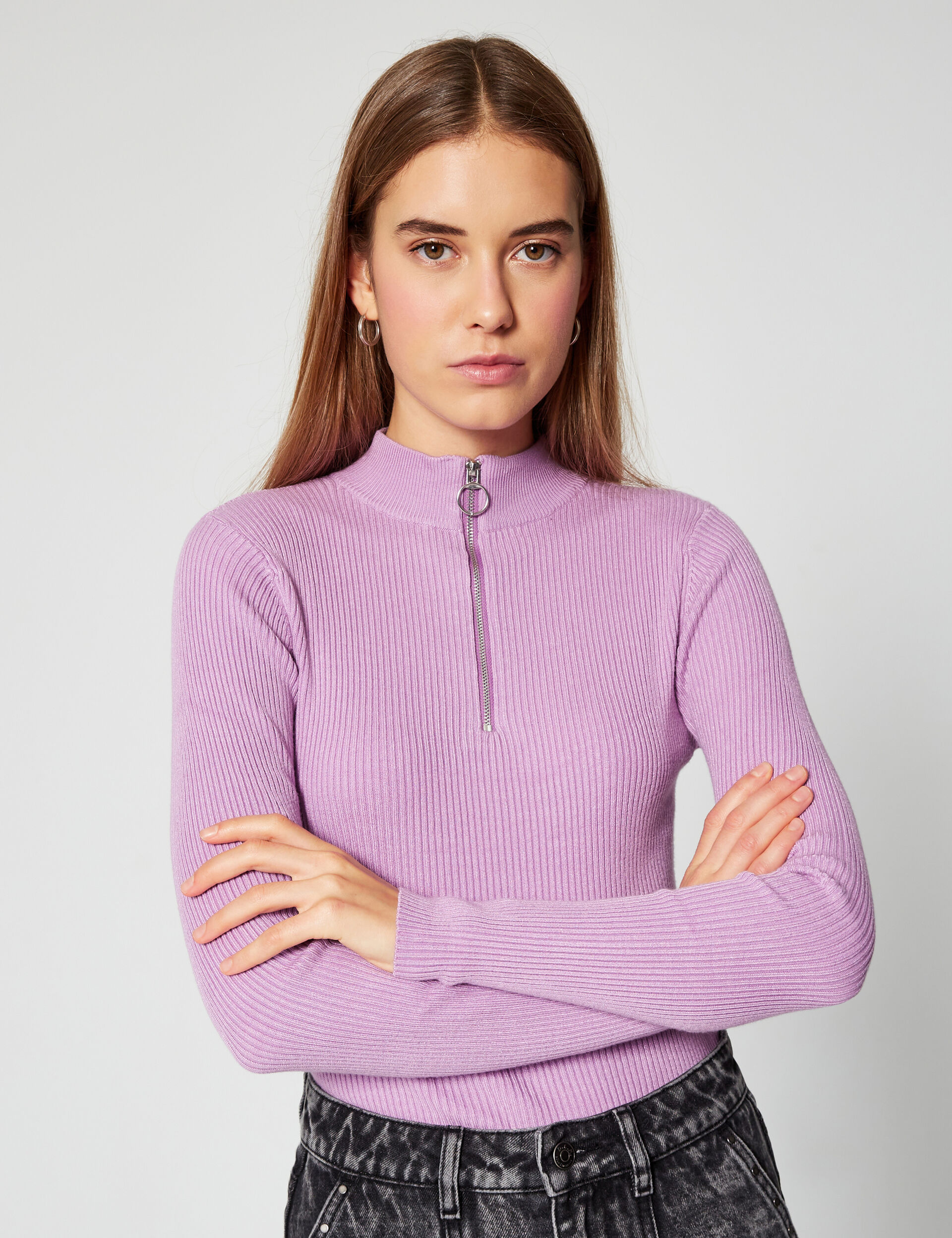 Zip-neck ribbed jumper