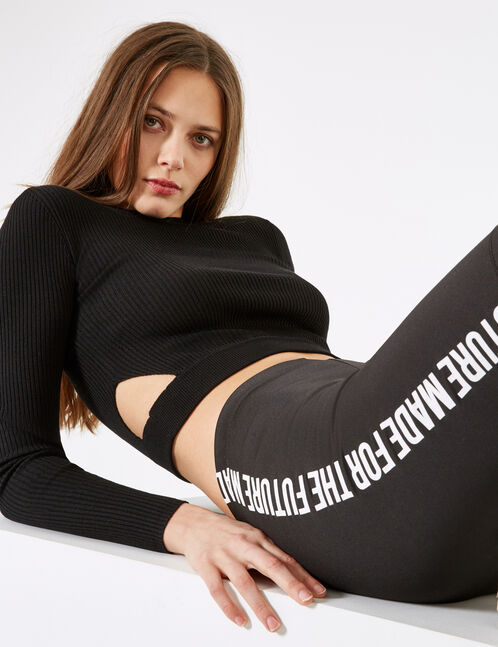 Cropped black jumper with open detail