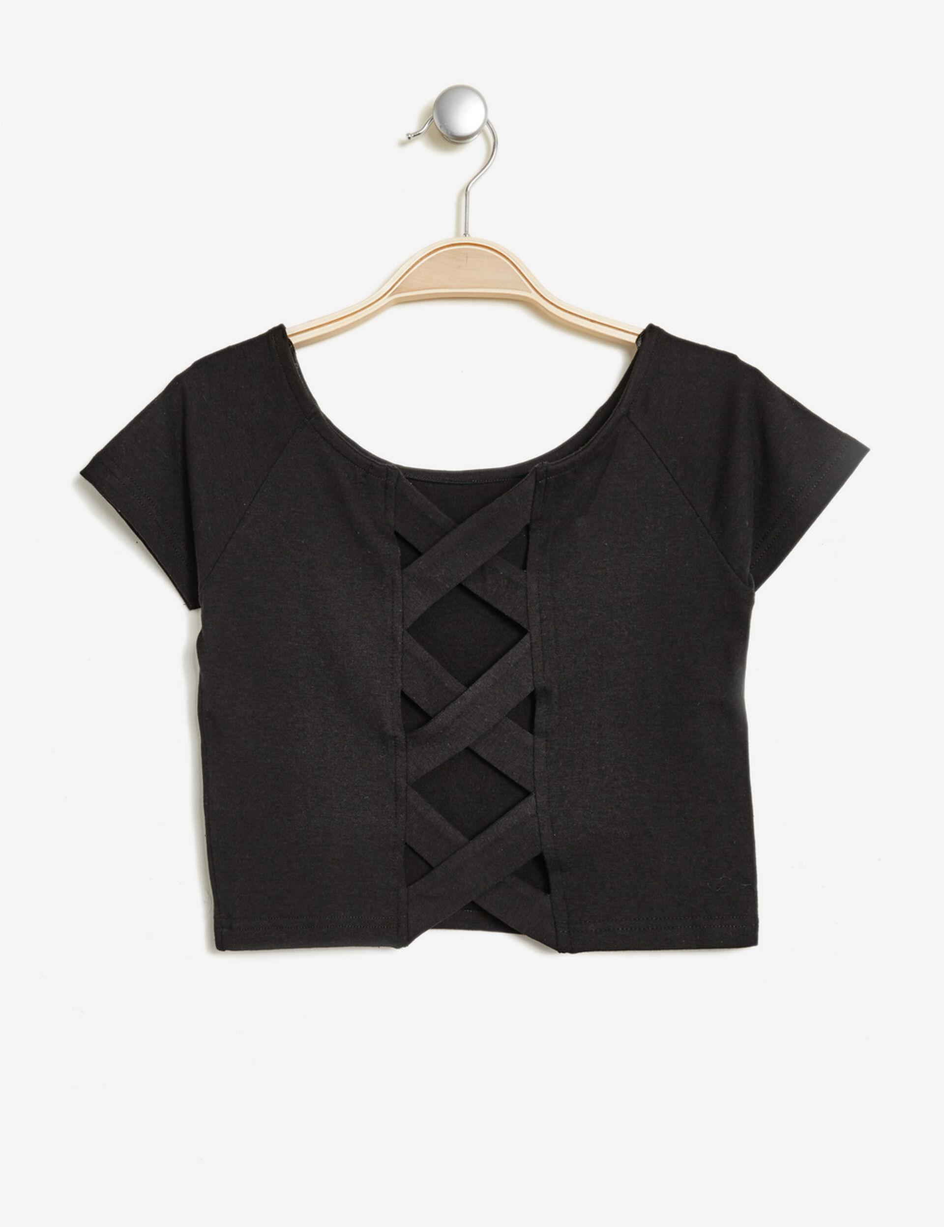crop top texturé noir
