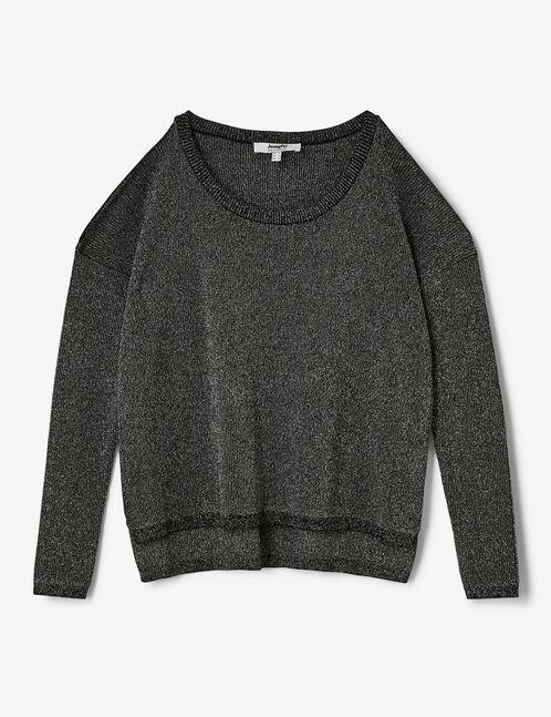 pull épaules ajourées gris et argenté