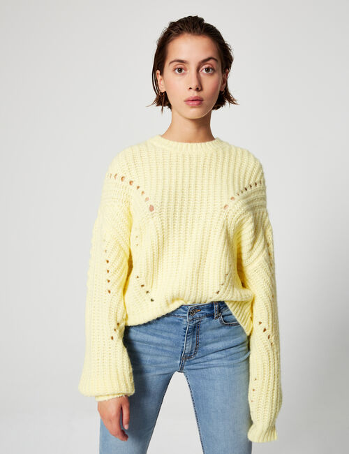 Openwork cable-knit jumper