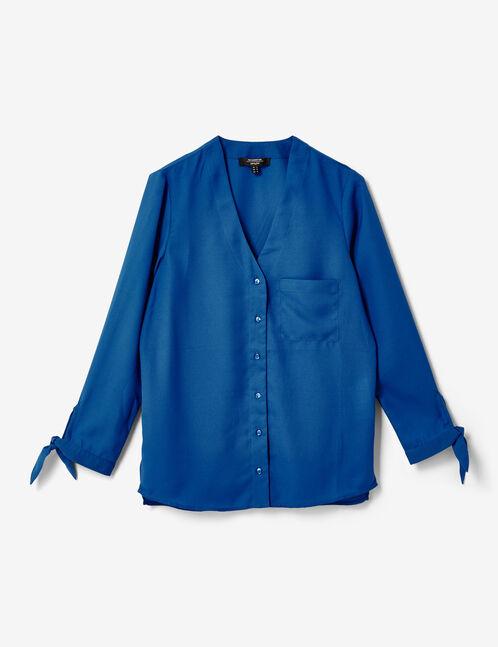chemise col v bleu