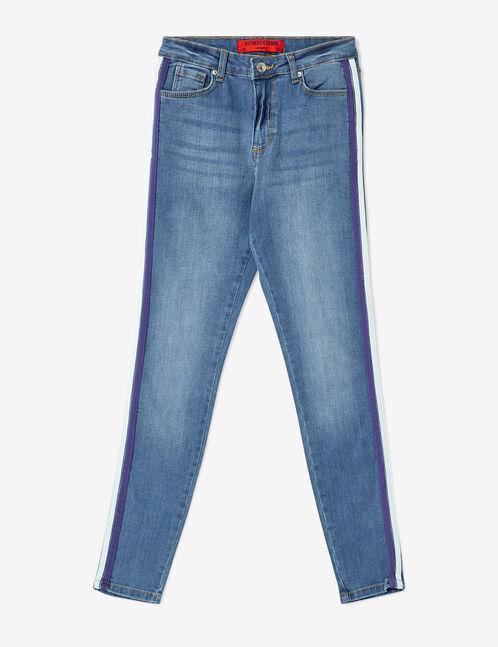 jean avec bandes bleu, violet et blanc