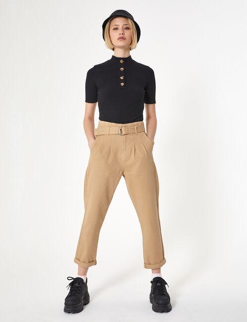 pantalon avec ceinture beige