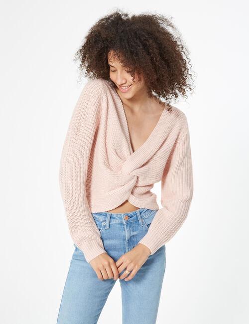 Crossover neckline knit jumper