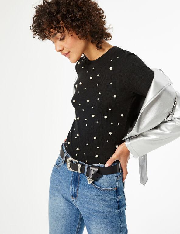 T-shirt with beading and rhinestone detail