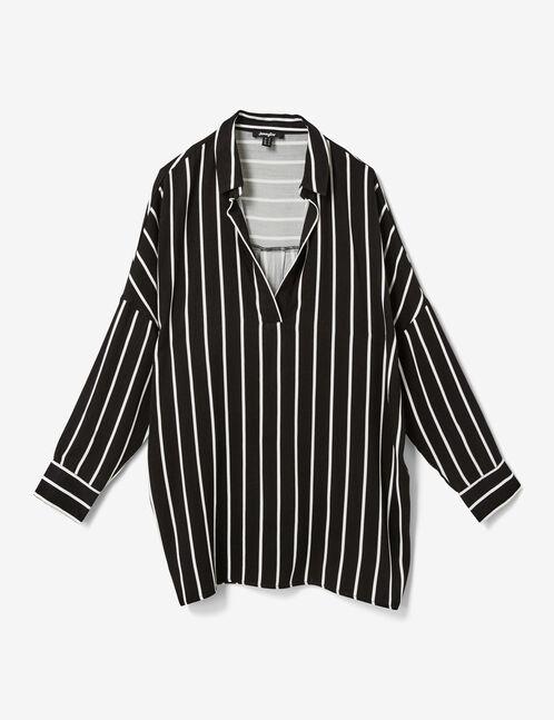 chemise longue rayée noire et blanche