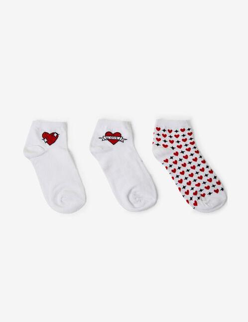 chaussettes coeurs blanches, rouges et noires