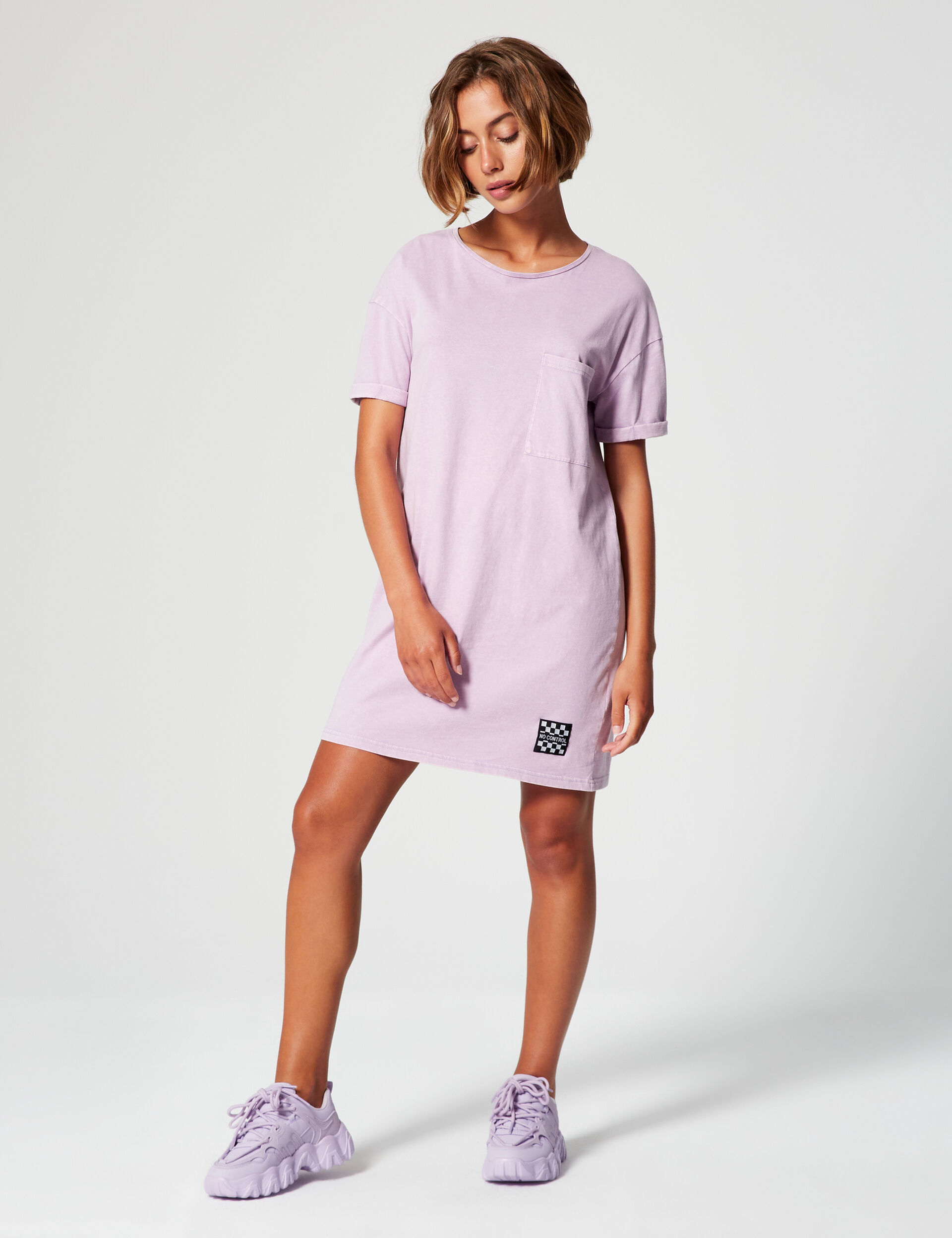 Distressed-effect T-shirt dress