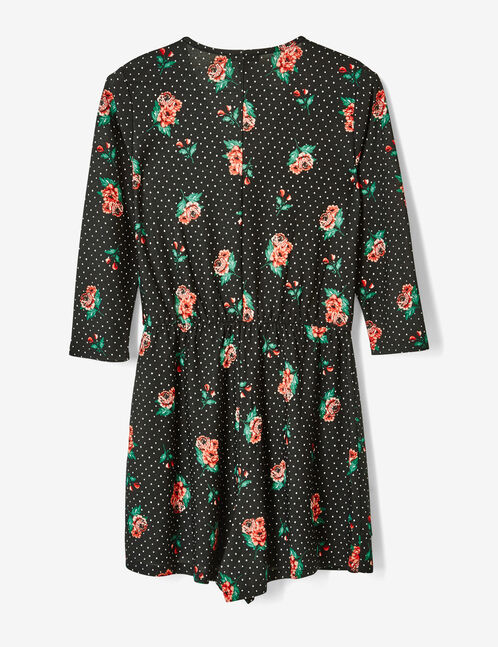 Black playsuit with floral and polka dot prints