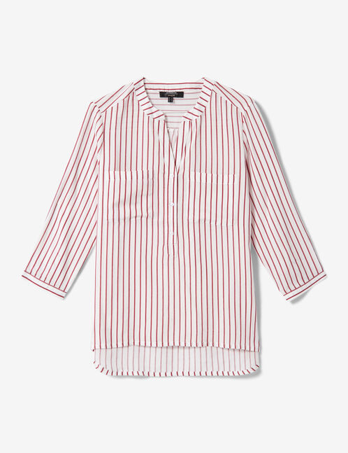 chemise col v rayée blanche et rouge
