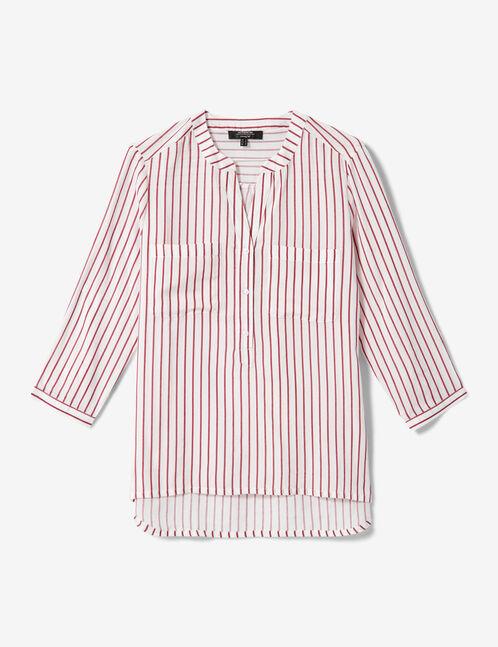 White and red striped V-neck shirt
