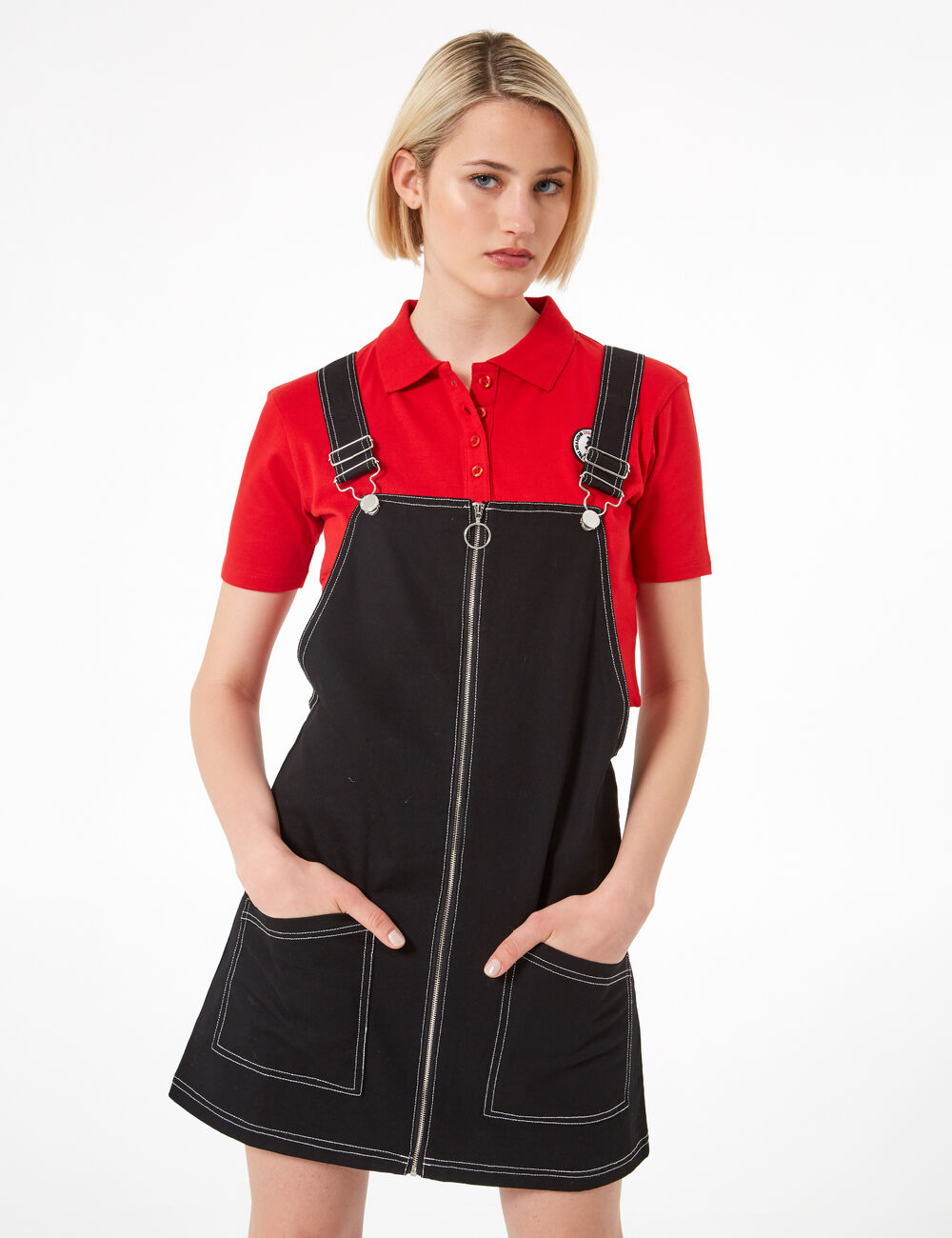 6b9204d53abf Black zipped pinafore dress woman • Jennyfer