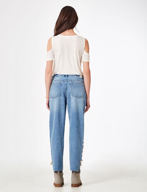 jean straight avec laçages bleu clair