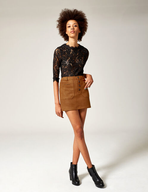 Camel faux suede skirt with pockets