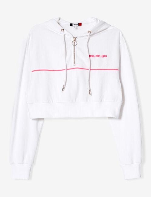sweat court zippé blanc et rose fluo