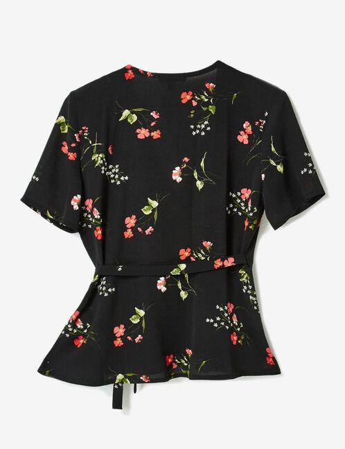 Black floral crossover blouse