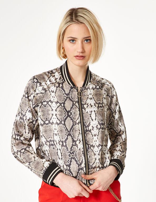 Beige python print satin bomber jacket