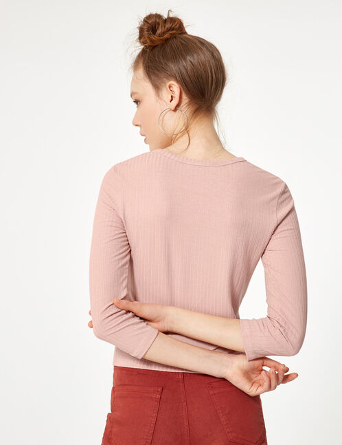 tee-shirt effet noué rose clair