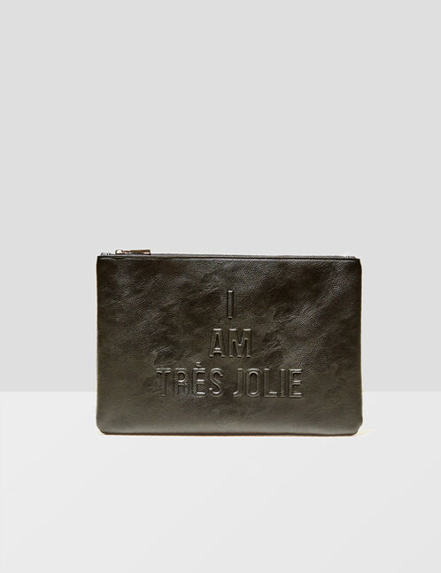 Black clutch with text design detail