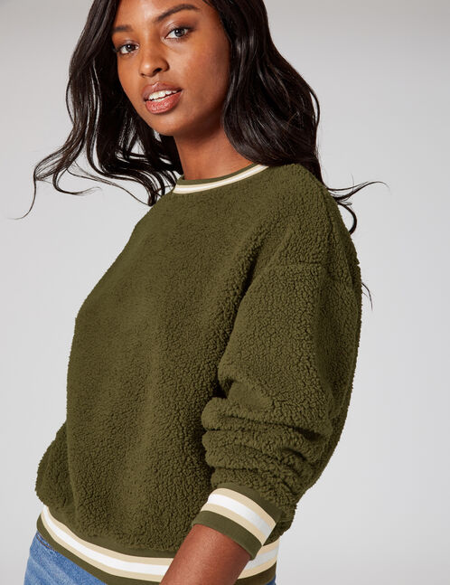 Khaki faux fur sweatshirt