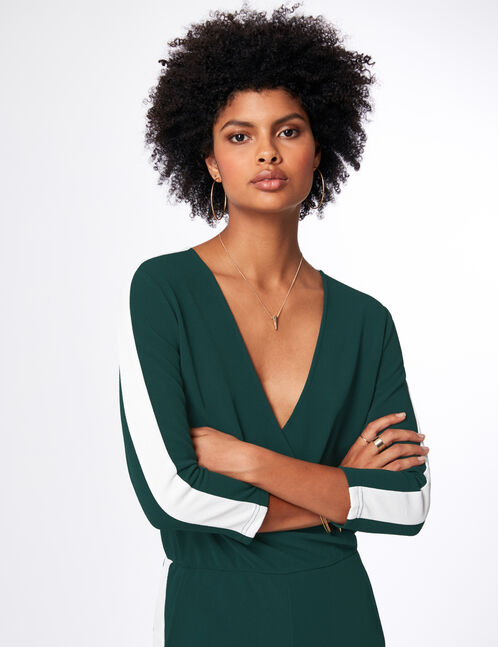 Green and white jumpsuit with stripe detail