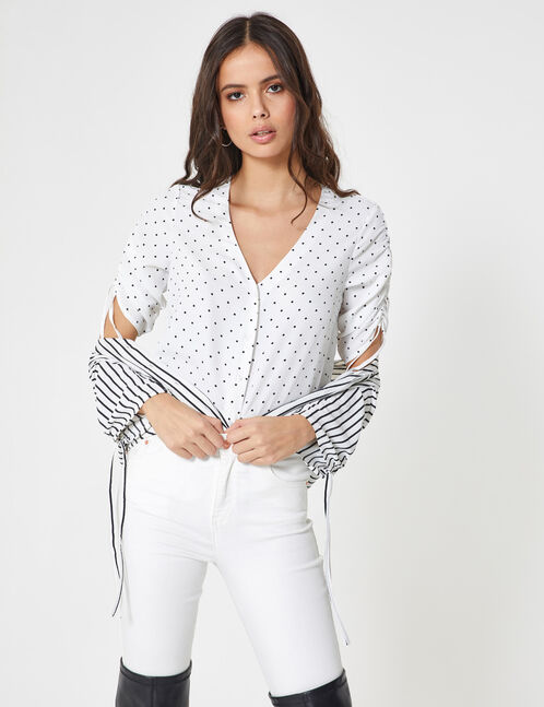 Cream and black polka dot blouse with gathered sleeve detail