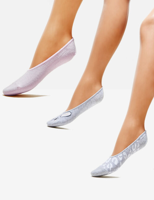 Grey, white and light pink invisible socks