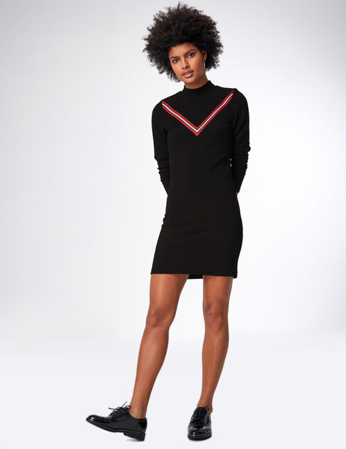 Black dress with chevron detail